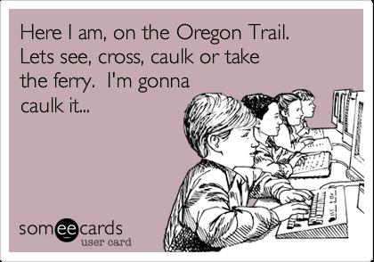 Here I am, on the Oregon Trail.  Lets see, cross, caulk or take the ferry.  I'm gonna caulk it...