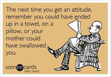 The next time you get an attitude, remember you could have ended up in a towel, on a  pillow, or your mother could have swallowed you.