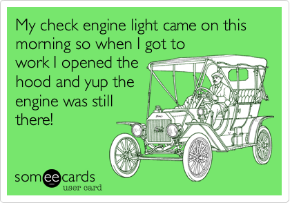 My check engine light came on this morning so when I got to work I opened the hood and yup the engine was still there!