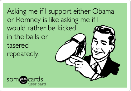 Asking me if I support either Obama or Romney is like asking me if I would rather be kicked in the balls or tasered repeatedly.