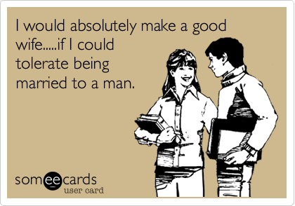 I would absolutely make a good wife.....if I could tolerate being married to a man.