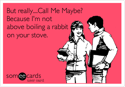 But really....Call Me Maybe? Because I'm not above boiling a rabbit on your stove.