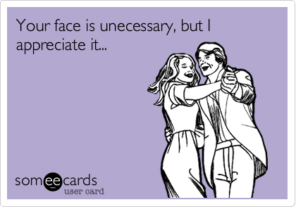 Your face is unecessary, but I appreciate it...