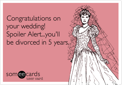 Congratulations on  your wedding!   Spoiler Alert...you'll be divorced in 5 years.