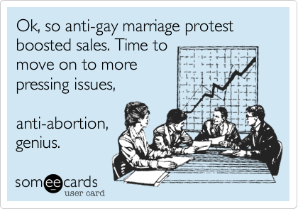 Ok, so anti-gay marriage protest boosted sales. Time to move on to more  pressing issues,  anti-abortion, genius.