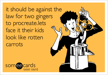 it should be against the law for two gingers to procreate.lets face it their kids look like rotten carrots