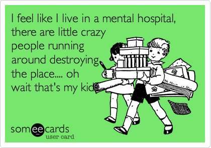 I feel like I live in a mental hospital, there are little crazy people running around destroying the place.... oh wait that's my kids