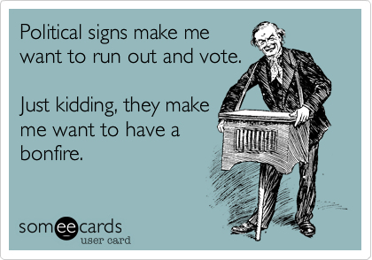 Political signs make me want to run out and vote.  Just kidding, they make me want to have a bonfire.