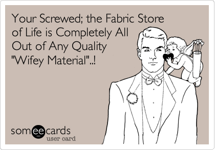 """Your Screwed; the Fabric Store of Life is Completely All Out of Any Quality """"Wifey Material""""..!"""