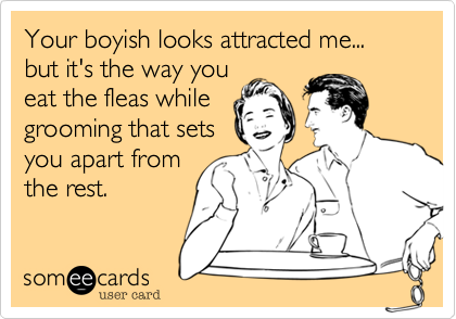 Your boyish looks attracted me... but it's the way you eat the fleas while grooming that sets you apart from the rest.