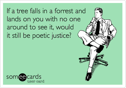 If a tree falls in a forrest and lands on you with no one around to see it, would it still be poetic justice?
