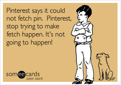 Pinterest says it could not fetch pin.  Pinterest, stop trying to make fetch happen. It's not going to happen!