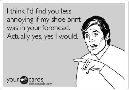 I think I'd find you less annoying if my shoe print was in your forehead. Actually yes, yes I would.