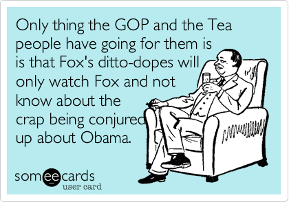 Only thing the GOP and the Tea people have going for them is  is that Fox's ditto-dopes will only watch Fox and not know about the crap being conjured up about Obama.