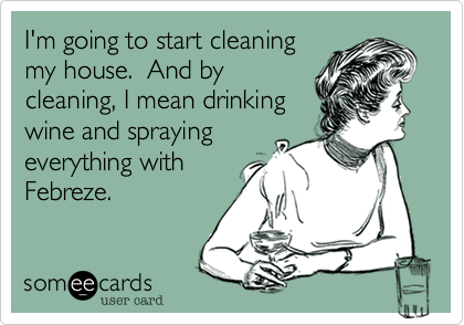 I'm going to start cleaning my house.  And by cleaning, I mean drinking wine and spraying everything with Febreze.