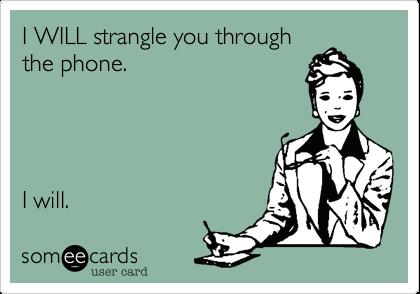 I WILL strangle you through the phone.     I will.