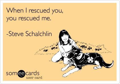 When I rescued you,  you rescued me.      -Steve Schalchlin