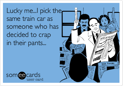 Lucky me...I pick the same train car as someone who has decided to crap in their pants...