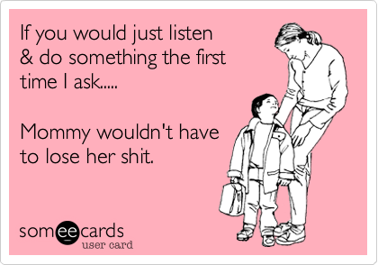 If you would just listen & do something the first time I ask.....  Mommy wouldn't have  to lose her shit.