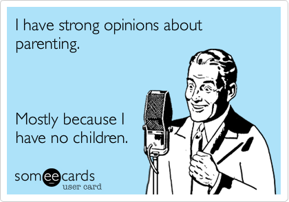I have strong opinions about parenting.    Mostly because I have no children.