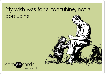 My wish was for a concubine, not a porcupine.