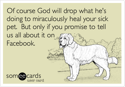 Of course God will drop what he's doing to miraculously heal your sick pet.  But only if you promise to tell us all about it on  Facebook.
