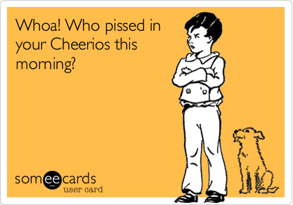 Whoa! Who pissed in your Cheerios this morning?