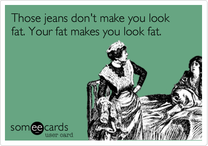 Those jeans don't make you look fat. Your fat makes you look fat.