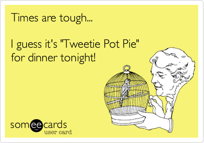 """Times are tough...  I guess it's """"Tweetie Pot Pie"""" for dinner tonight!"""