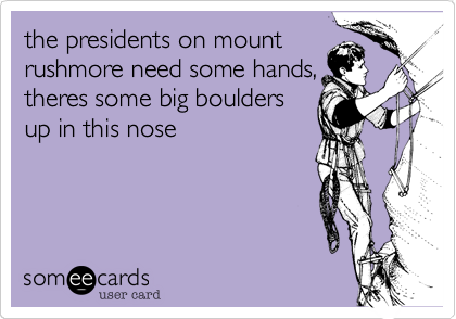 the presidents on mount rushmore need some hands, theres some big boulders up in this nose