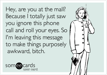 Hey, are you at the mall? Because I totally just saw you ignore this phone call and roll your eyes. So I'm leaving this message to make things purposely  awkward, bitch.