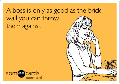 A boss is only as good as the brick wall you can throw them against.