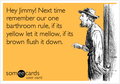Hey Jimmy! Next time remember our one barthroom rule, if its  yellow let it mellow, if its brown flush it down.