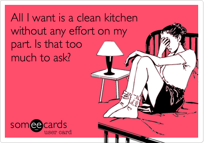 All I want is a clean kitchenwithout any effort on my part. Is that too much to ask?