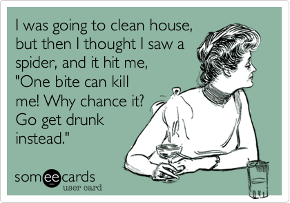 "I was going to clean house, but then I thought I saw a spider, and it hit me, ""One bite can kill me! Why chance it?  Go get drunk instead."""