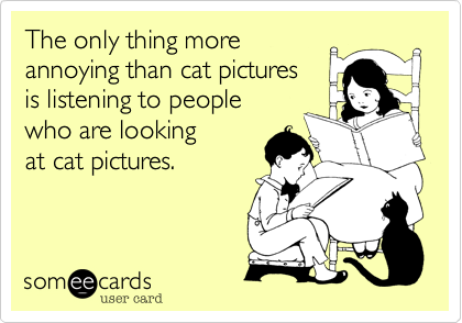 The only thing more  annoying than cat pictures  is listening to people  who are looking  at cat pictures.