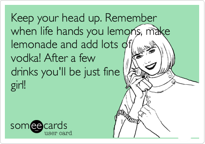 Keep your head up. Remember when life hands you lemons, make lemonade and add lots of vodka! After a few drinks you'll be just fine girl!