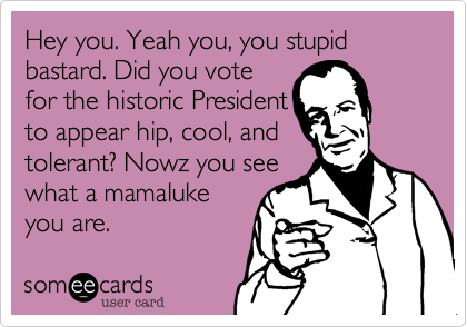 Hey you. Yeah you, you stupid bastard. Did you vote for the historic President to appear hip, cool, and tolerant? Nowz you see what a mamaluke you are.