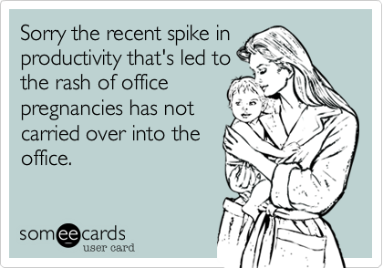 Sorry the recent spike in productivity that's led to the rash of office pregnancies has not carried over into the office.