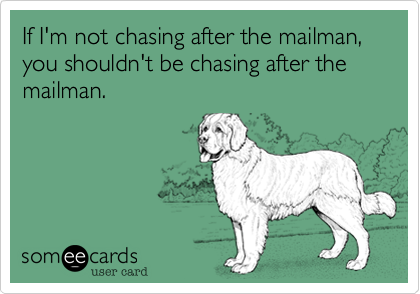 If I'm not chasing after the mailman, you shouldn't be chasing after the mailman.
