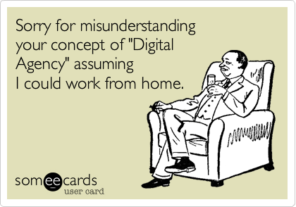 """Sorry for misunderstanding your concept of """"Digital Agency"""" assuming I could work from home."""