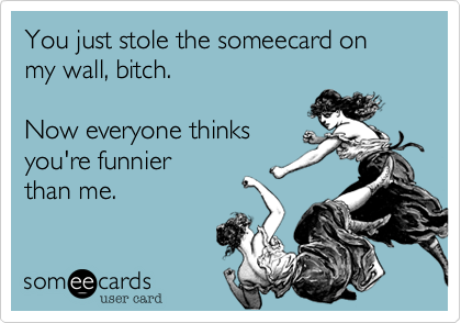 You just stole the someecard on my wall, bitch.  Now everyone thinks you're funnier than me.