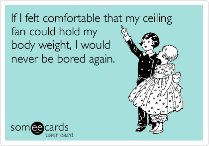 If I felt comfortable that my ceiling fan could hold my  body weight, I would never be bored again.
