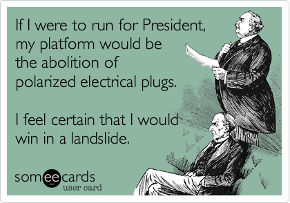 If I were to run for President,  my platform would be the abolition of polarized electrical plugs.  I feel certain that I would win in a landslide.