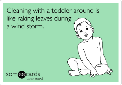 Cleaning with a toddler around is like raking leaves during a wind storm.