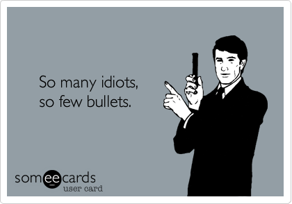 So many idiots,       so few bullets.