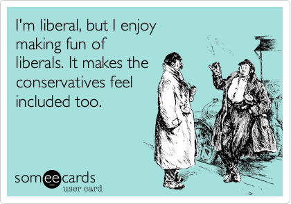 I'm liberal, but I enjoy making fun of liberals. It makes the conservatives feel included too.