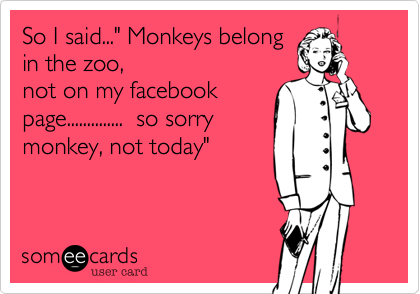 """So I said..."""" Monkeys belong in the zoo, not on my facebook page..............  so sorry monkey, not today"""""""