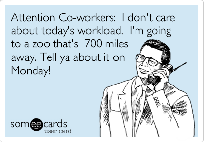 Attention Co-workers:  I don't care about today's workload.  I'm going to a zoo that's  700 miles away. Tell ya about it on Monday!