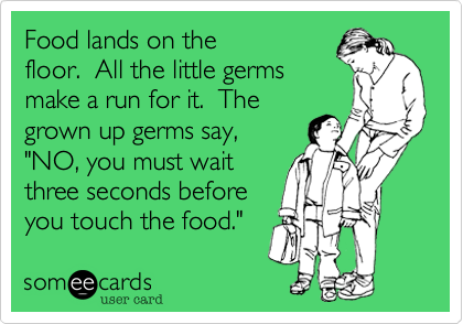 """Food lands on the floor.  All the little germs make a run for it.  The grown up germs say, """"NO, you must wait three seconds before you touch the food."""""""